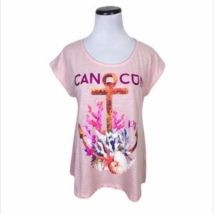 Cancun Graphic Relaxed Fit Anchor Print Top